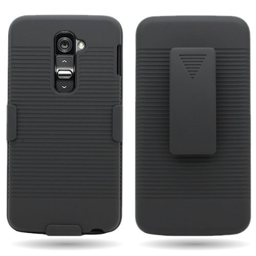 T-mobile G2 Two Piece - ElementDigital(TM) Belt Clip Holster Hard Combo Case for LG G2 At&t T-Mobile Sprint - Black