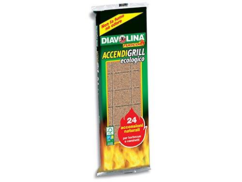 Diavolina - AccendiGrill, Ecologico, Accensioni Naturali per Barbecue e Caminetti, 24 tavolette Facco'