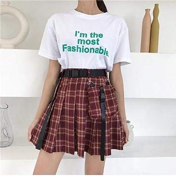 DWWAN Falda Corta Mini Falda Mujer Cintura Alta A Faldas Plisadas ...