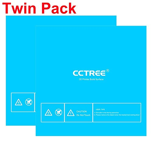 CCTREE 3D Printer Build Surface with 3M Sticker3D Printer heated bed Sheet for Creality CR-10S S4 400x400mm (Pack of 2) by CCTREE