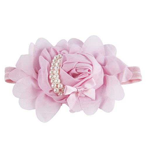 Baby Girl Rose Headband Photo Prop (Hand-made with love) (Pack of 1-Pink)