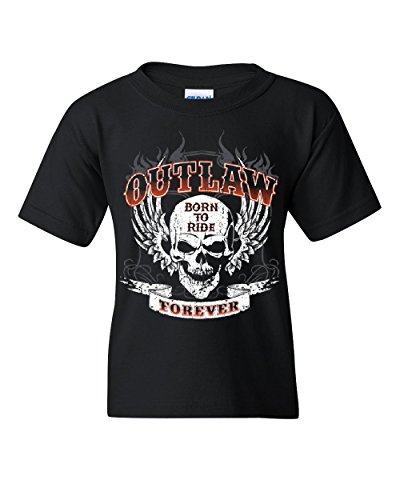 Outlaw Forever Youth Tee Born To Ride MC Chopper Bobber Black M - Choppers Forever Black T-shirt