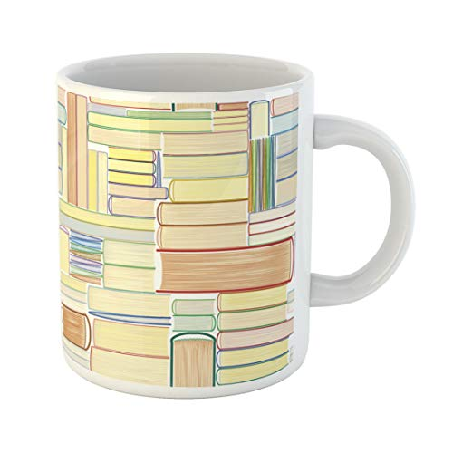 Semtomn Funny Coffee Mug Pattern Books Library Bookworm Leaflet Bookcase Reading Swatch Lover 11 Oz Ceramic Coffee Mugs Tea Cup Best Gift Or Souvenir