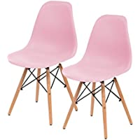 IRIS Mid-Century Modern Shell Chair with Wood Eiffel Legs, 2 Pack, Ballerina Pink