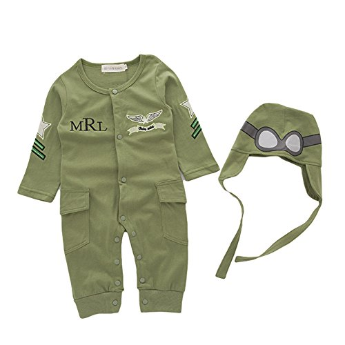 AvaCostume Baby Boys Pilot Jumpsuit Set Toddler Outfits, 12M, Green -