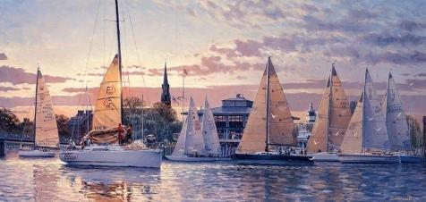 The Perfect Effectキャンバスの油絵「Sailing Boats」、サイズ30x 63インチ/ 76x 160CM、このBest Priceアート装飾プリントキャンバスは、フィットのキッチンギャラリーアートとホームギャラリーアートとギフトの商品画像
