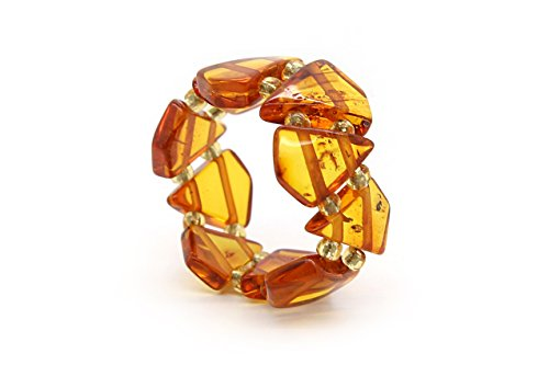 Genuine Natural Baltic Cognac Amber Adjustable Stretch Ring for Women