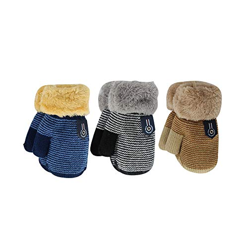 ORVINNER 3 Pairs Baby Boys Girls Winter Sherpa Lined Mittens Toddler Kids Warm Knit Gloves with String