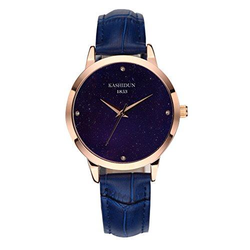 Dress Watch Blue Dial (KASHIDUN Women's Watches Dress Casual Watches For Women Waterproof Wristwatches Luxury Diamonds Dial Blue Leather Strap XK-L)