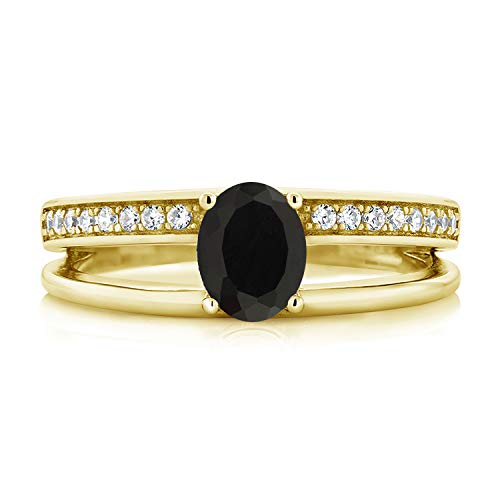 Gem Stone King 0.96 Ct Oval Black Onyx 18K Yellow Gold Plated Silver Double Band Ring (Size 6)