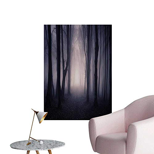Anzhutwelve Forest Wallpaper Path Through Dark Deep in Forest with Fog Halloween Creepy Twisted Branches PicturePink Brown W24 xL36 The Office Poster -