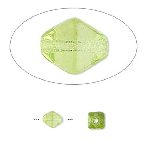 1 Strand Czech Pressed Glass Olivine Green 6x5mm Double Cone Beads for Jewelry Making, Supply for DIY Beading Projects