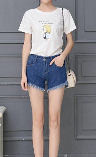 Navy Con Pants Corto Denim Jeans Parigamba A Vita Frange Moda Blu Alta Hot Shorts Donna Pantaloncini Pantaloni waRqSC