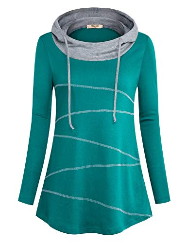 Sweatshirt Jersey Print - Timeson Womens Tunic Sweatshirt, Ladies Long Sleeve Line Print Cowl Neck Hoody Tunics Sweater Swing Jerseys Sweatshirts Flowy Casual Office Work Shirts for Leggings Cyan Medium