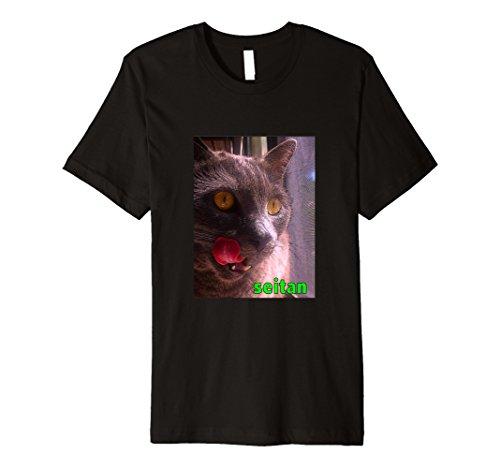 Price comparison product image Seitanic Cat - Tongue out for Seitan - Vegan - T-Shirt