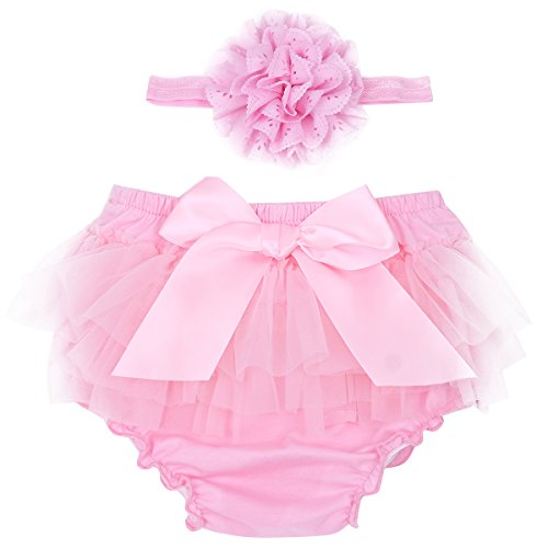 dPois Infant Baby Girls' Tulle Bowknot Ruffle Bloomers Skirts Diaper Cover with Flower Headband 2PCS Photography Prop Set Pink 0-3 Months -