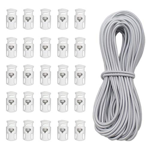 YaHoGa 25 pcs Cord Locks Spring Toggle Stopper + 10 Yards 1/8 Inch Cord Stretch String for Drawstring, Shoelaces, Clothing, Backpack, Bags -