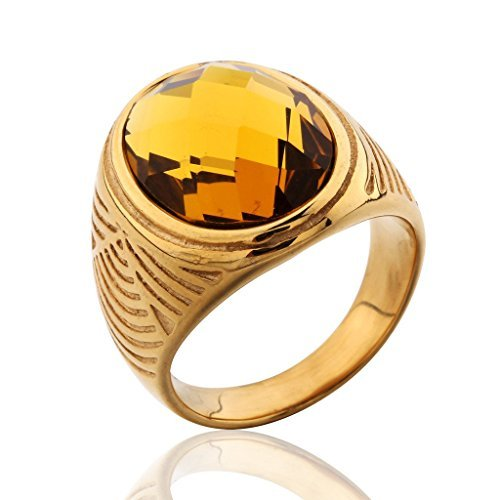 (MASOP Stainless Steel Mens Rings Gold Color Cocktail Bands Brown Light Topaz Color Stone Size 8)