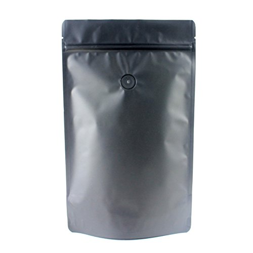 AwePackage 1 lb(16 oz) Stand Up Zipper Pouch Coffee Bag with Degassing Valve (50, Matte Black)