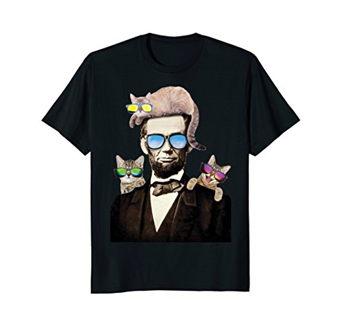 Abraham Lincoln With Cats Humorous T-Shirt -