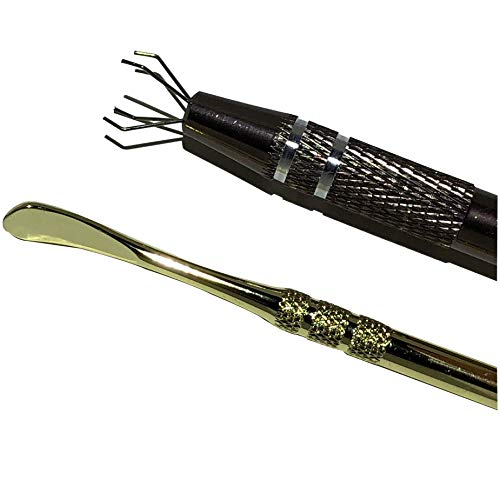 2 Pack Gold Stainless Steel Carving Tool - Prong Tweezer Diamond Gemstone Grabber Tool - Hot Wax Element Titanium pen with Four Prong, crystal gemstone pickup tool Jewels Catcher Pickup Tool