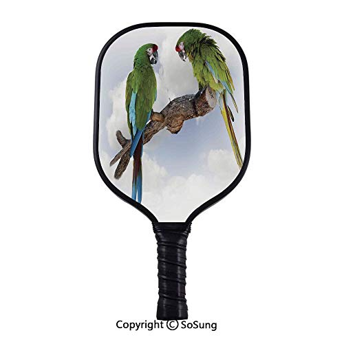 Parrots Decor Pickleball Paddle,Two Parrot Macaw on a Branch Talking Birds Gifted Clever Creatures of The Nature Widebody Composite Pickleball Paddle,for Kids & Adult,Green White Brown