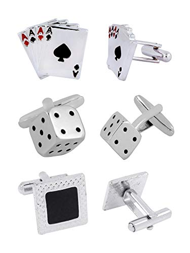 Metal Combo Dice - The Jewelbox Dice A Cards Rhodium Plated Enamel Brass Red Black 3 Pair Cufflink Combo Boys Mens