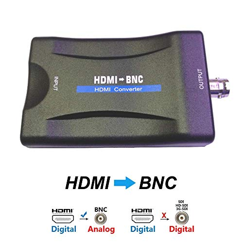- HDMI to BNC Converter Video Adapter - HDMI in Female Analog CVBS Out Component for Full HD DVD DVRs Equipment Image Convert to TV Monitor Display with Audio Output Composite Box Support NTSC & PAL