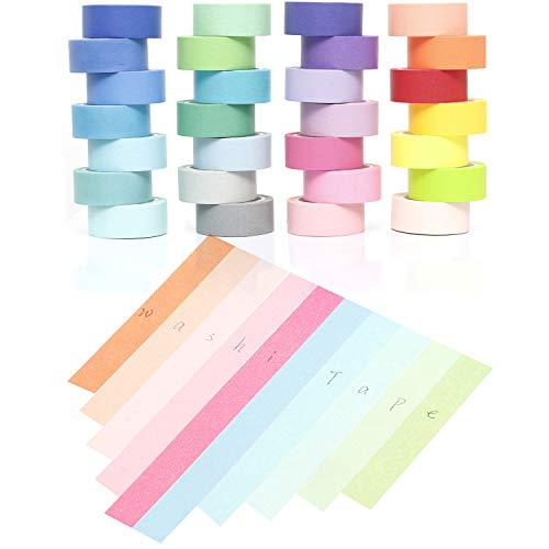 YUKUNTANG Washi Masking Tape Set, Decorative Writable Washi Craft Tape Set 28 Rolls for DIY Crafts Book Designs