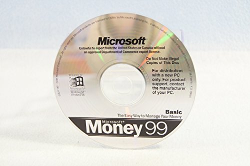 Microsoft Money 99 Basic Windows Operating System Driver PC Computer Software Program Recovery Replacement Disc P/N #X03-89756