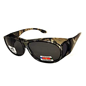 Unisex Camouflage Sun Shield Fit Over Sunglasses Polarized - Wear Over Prescription Glasses - Cover Over Glasses - Size Medium in Green Camo (Microfiber Pouch Included)
