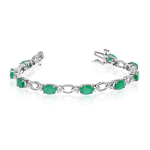 14k White Gold Natural Emerald And Diamond Tennis Bracelet (9 Inch Length) ()
