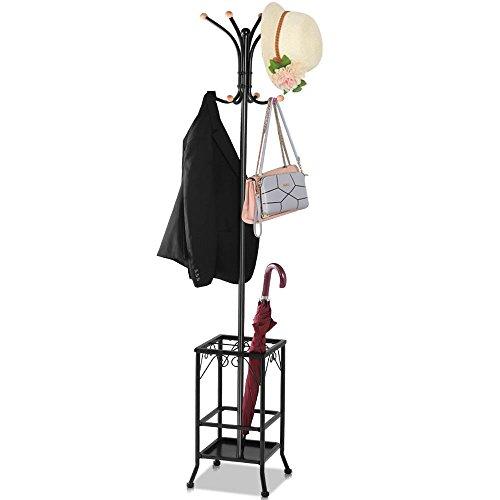 Alek...Shop Clothes Hanger Stand Coat Rack W/Shelves Hat Jacket Umbrella Tree Metal Hook Holder Hooks Hall