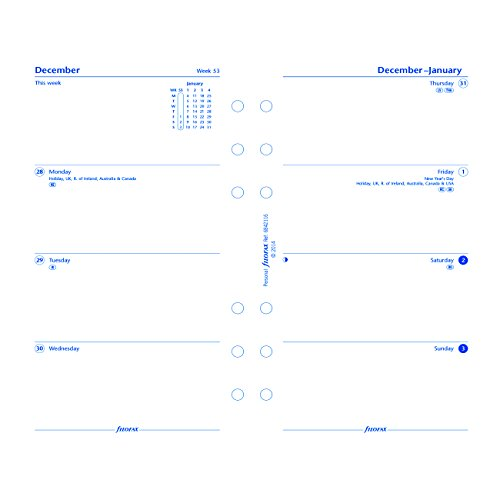 """Filofax Week to View Refill for 2016 Personal/Compact Size Yearly Calendar, 6.75 x 3.75"""" (C68421-16)"""