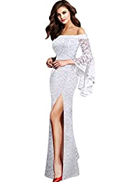 c717bf79103 Womens Off Shoulder Bell Sleeve High Slit Formal Evening Party Maxi Dress