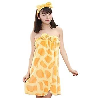 Smarstar-Juego de albornoz de baño, toalla de Sauna Kilt-Toalla para mujer con cinta de pelo de franela, lomo elástico, tamaño único color disponible jirafa Talla única