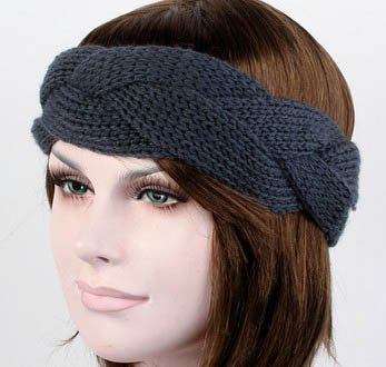 S Cloth Dark Gray Winter Headwrap Crochet Knit Ear Twist Warmer Head Wrap Headband Women Hair Band