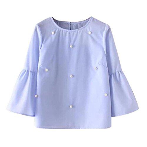 OverDose mujer blusa camiseta funda casual rebordear blusa camiseta tops Azul