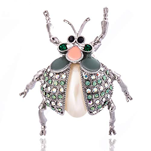 KAMILLE Rhinestone Brooch Pins for Women - Cute Animal Brooch Pins for Crafts, Enamel Pin Pearl Bee Brooch for Party, Wedding and Daily Use (Ladybug Brooch)