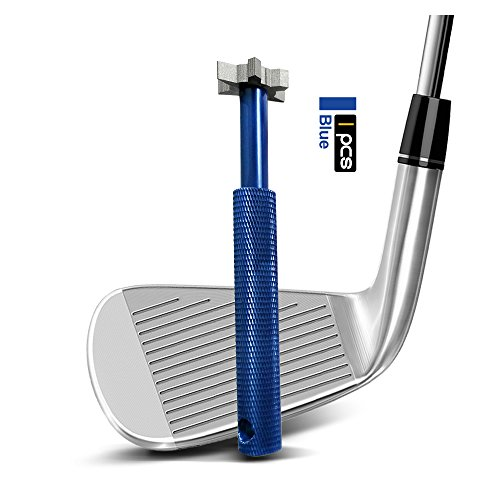 Calunce Golf Club Groove Sharpener with 6 Heads Re-Grooving Tool and Cleaner for Wedges & Irons (blue)