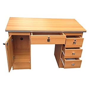 Computer Desk in Black, Beech, White, Walnut & Oak with 3 Locks 4 Home Office (Oak Desk 617/1985)