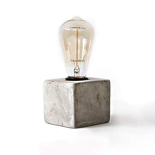 Concrete Lamp Shape Combine with Edison Light Bulb - Rustic Industrial Minimal Style - Cafe Shop Home Decor - Free Bulb -