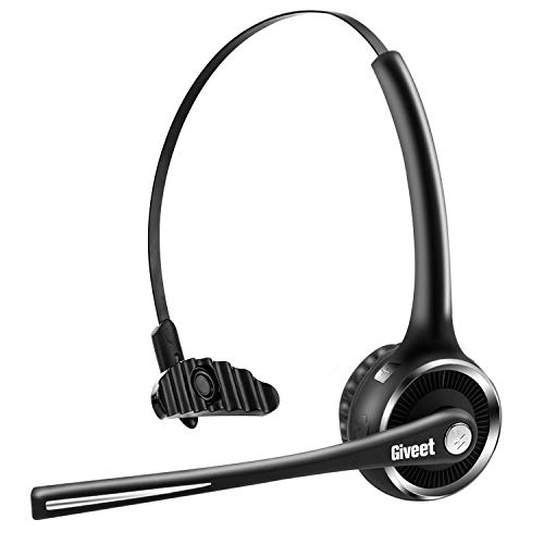 Giveet Trucker/Truck Driver V5.0 Bluetooth Headset, Wireless Office Headphones, Handsfree Headset with Noise Cancelling Microphone, 15h Talking time for Cell Phone, Telephone, Skype, Call Center, PC