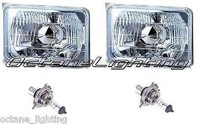 OCTANE LIGHTING 4X6 Halogen Semi Sealed H4 Headlight Headlamp Bulbs Diamond Crystal Clear (Headlamps Crystal Diamond)