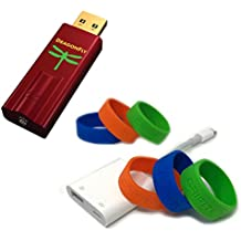 """AudioQuest Preferred Apple/iPhone Mobile Bundle: DragonFly Red (Portable USB Preamp, Headphone Amp/DAC), Apple Lightning to USB 3 Camera Adapter and 2 Blue, 2 Orange, 2 Green 2"""" Silicone Bands"""
