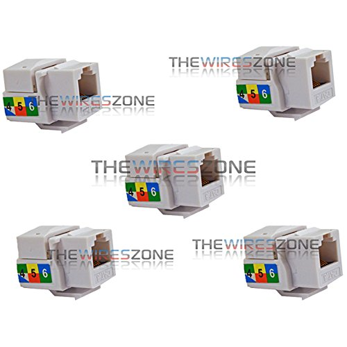 6P6C White RJ11 CAT3 Telephone Network Keystone Jack Insert for Wall Plates 5/pk ()