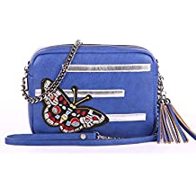 Alba Soboni Ukrainian Designed Women's PU Leather Embroidered Lady's Bag Small Stylish Applique Casual Cross Body Bag