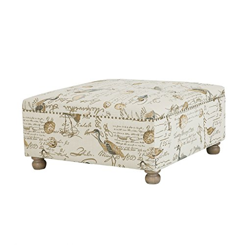 Madison Park Carlyle Cocktail Square Ottoman Ivory 36W x 36D x 18H