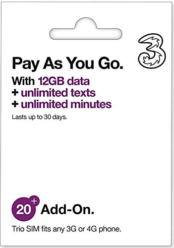 (Unlimited) Three Mobile Sim Card 12GB of High-Speed Data (Then Unlimited Normal Data) + Unlimited Calls & Texts for 30-Days Free-Roaming - 71 Destinations Including All European Countries AIO20 3Sim ()