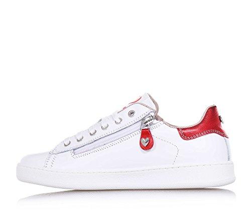 TWIN-SET - Chaussure à lacets blanche, en cuir, avec des motifs à forme de cœur sur le côté, petit cœur avec logo, Fille, Filles, Femme, Femmes